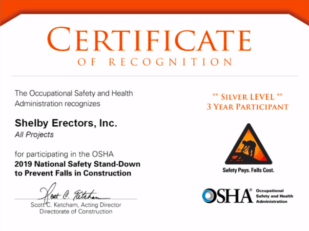 Shelby Erectors Recognized for 3rd Year by OSHA